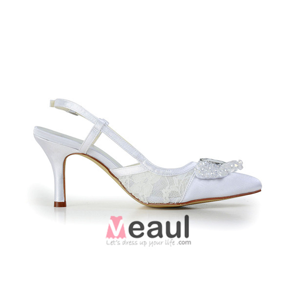 Elegant White Wedding Shoes Lace Stilettos Sandals Slingbacks With Sequins Rhinestone