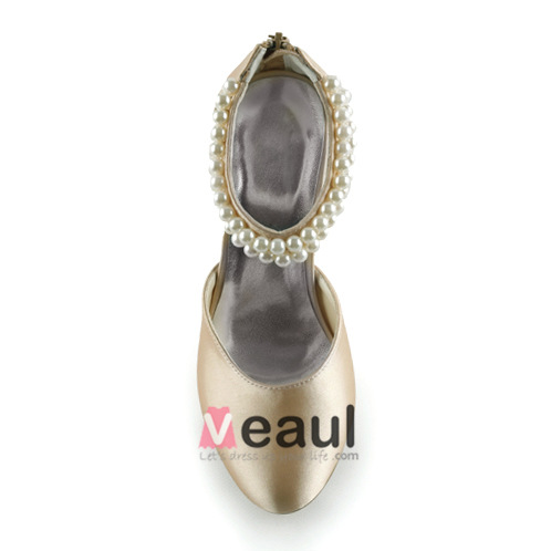 Fashion Champagne Bridal Shoes 3 Inch Heel Pumps With Pearl Ankle Strap