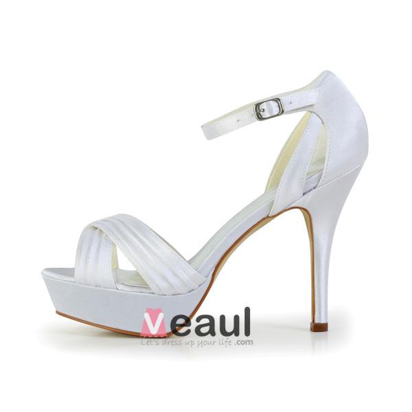 Fashion White Bridal Shoes Ruffle Satin Stilettos Platform Sandals With Ankle Strap