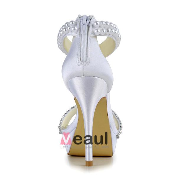 Fashion White Bridal Shoes Satin Stilettos Platform Sandals With Pearl Ankle Strap
