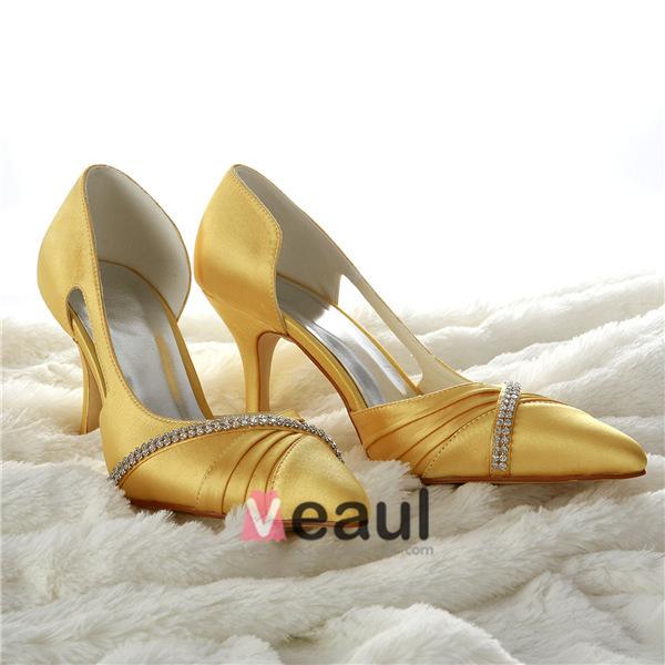 Glamorous Gold Wedding Shoes Satin Stilettos Pumps With Rhinestone