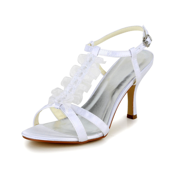 Glamorous Peep Toe High Heels White Satin Strappy Sandals With Buckle