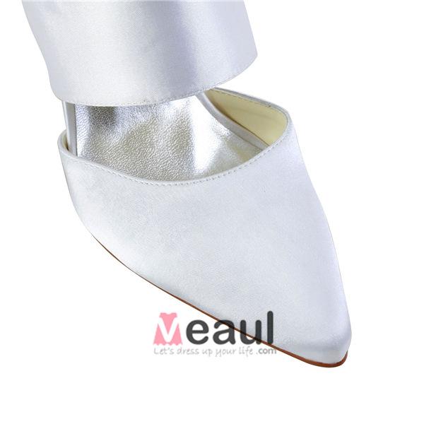Glamorous White Formal Shoes Satin Stilettos Slingbacks With Buckle