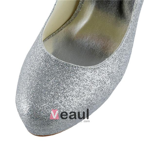Glitter Silver Bridal Shoes Stilettos Platform Pumps