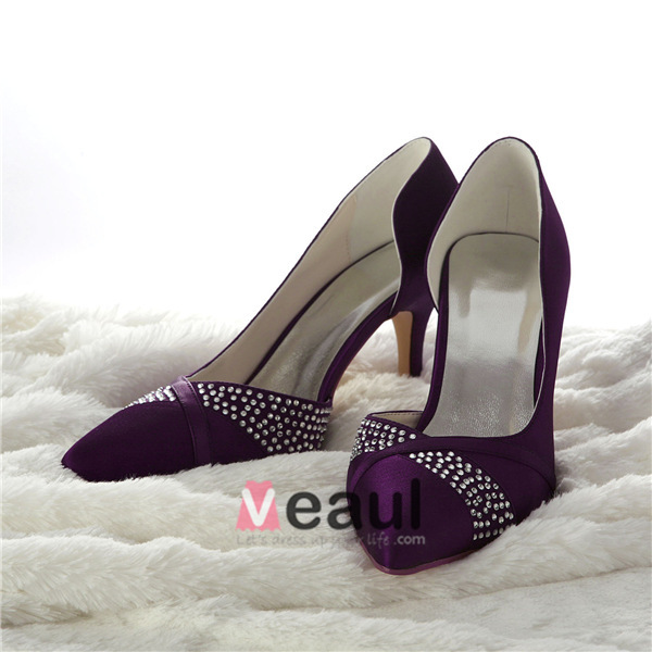 Gorgeous Purple Formal Shoes Open Side Stiletto Pumps With Rhinestone