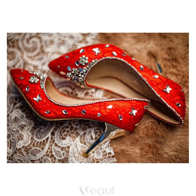 Handmade Wedding Shoes 2017 Lace And Beading Rhinestones 8cm Bridal Shoes