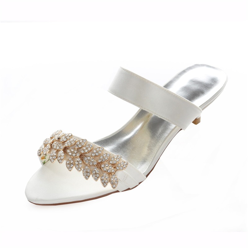 Ivory Bridal Sandals 4cm Stiletto Heel Wedding Shoes
