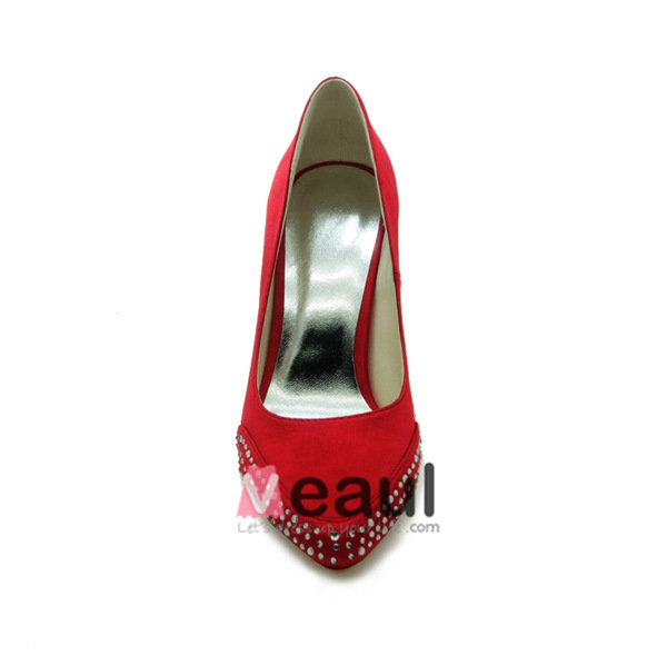 Modest Red Bridal Wedding Shoes Stiletto Heel Satin Pumps Pointed Toe With Rhinestone