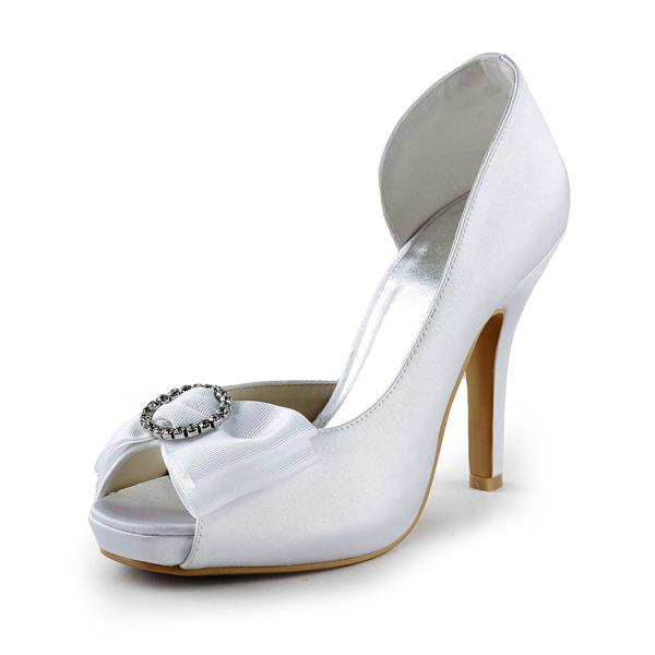 Nice White Bridal Shoes Satin Open Side Stilettos Pumps With Rhinestone