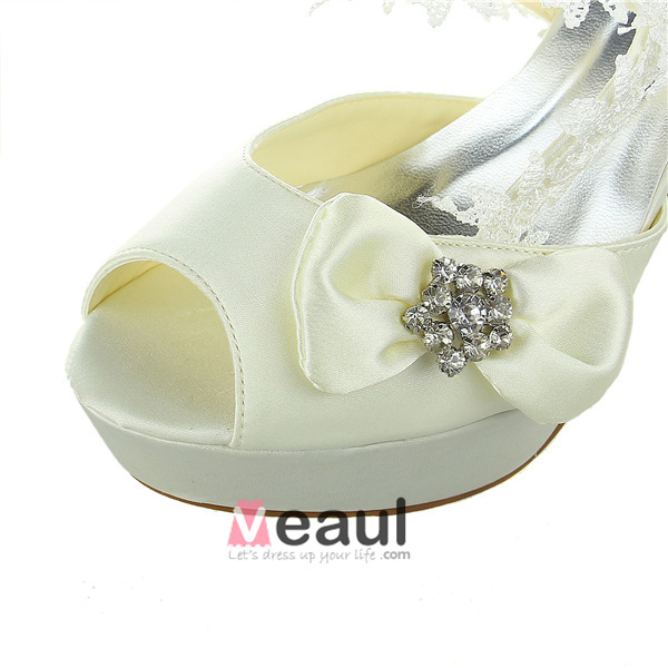 Princess Bridal Shoes Satin Stilettos Slingbacks Sandals With Lace And Rhinestone Bow