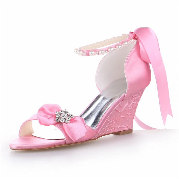 Princess Open Toe Mid Wedges Pink Satin Sandals Wedding Shoes With Pearl And Rhinestone Bow