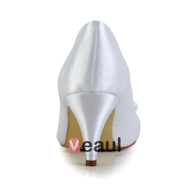 Princess Ruffle Round Toe Mid Heels White Satin Bridal Wedding Shoes With Rhinestone Bow