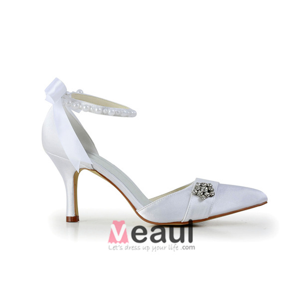 Princess White Wedding Shoes Satin Stilettos Sandals With Ribbon Tie Pearl Ankle Strap