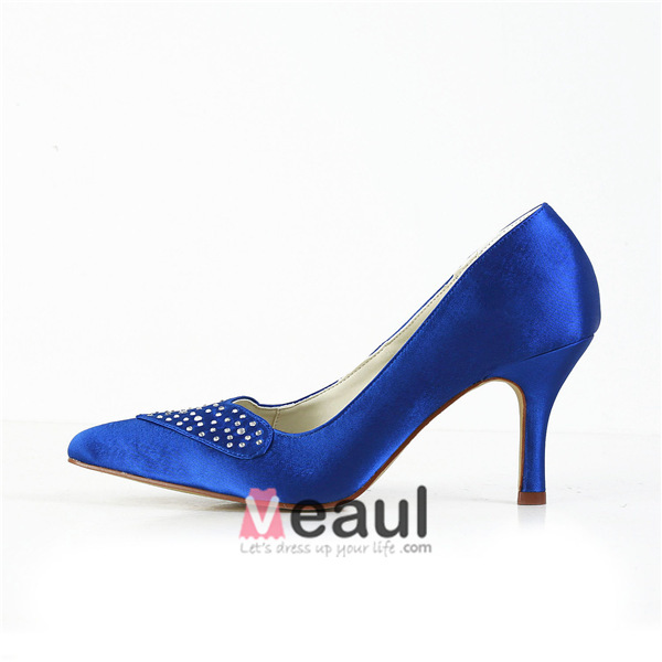 Simple Blue Formal Shoes Satin Stilettos Pumps With Rhinestone