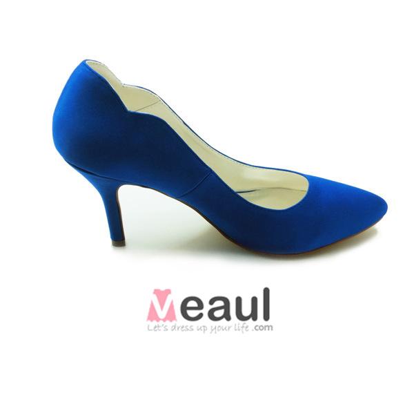 Simple Blue Pumps 3 Inch Stiletto Heel Satin Bridal Shoes Formal Shoes