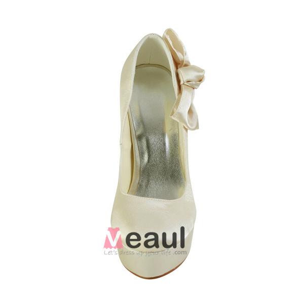 Simple Bridal Shoes Stilettos Platform Pumps With Bowknot