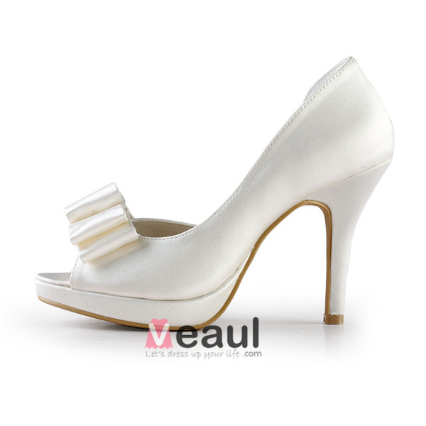Simple Ivory Bridal Shoes Satin Stilettos Sandals With Bow