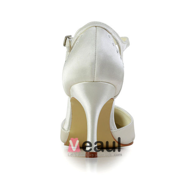 Simple Ivory Wedding Shoes Satin Stilettos Pumps With Rhinestone