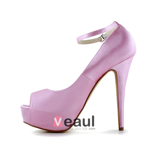simple pink bridal shoes satin peep toe platform with