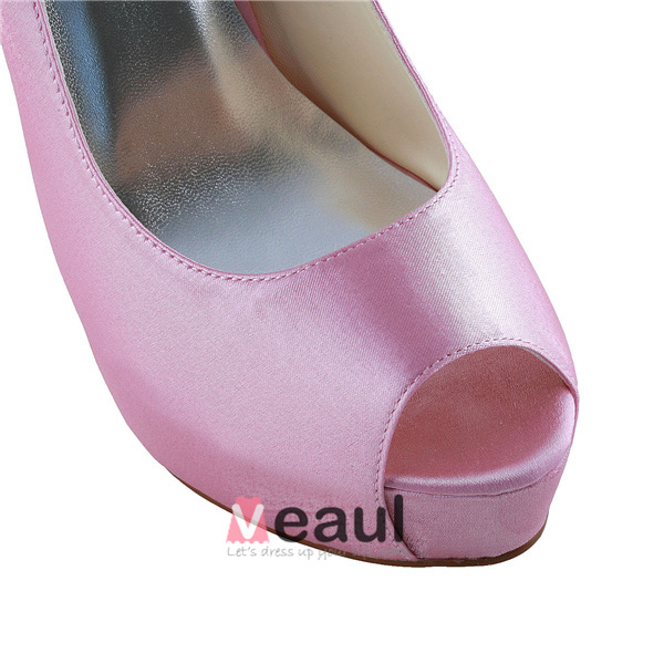 Simple Pink Bridal Shoes Satin Peep Toe Platform Pump With Ankle Strap