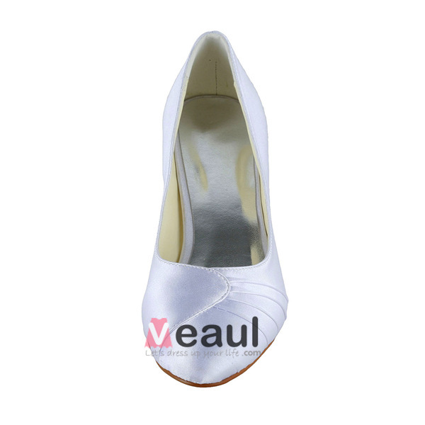 Simple Pointed Toe Ruffle White Satin Kitten Heels Pumps Bridal ...
