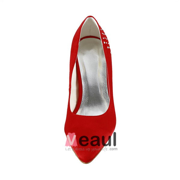 Simple Red Formal Shoes Satin Stilettos Pumps With Rhinestone