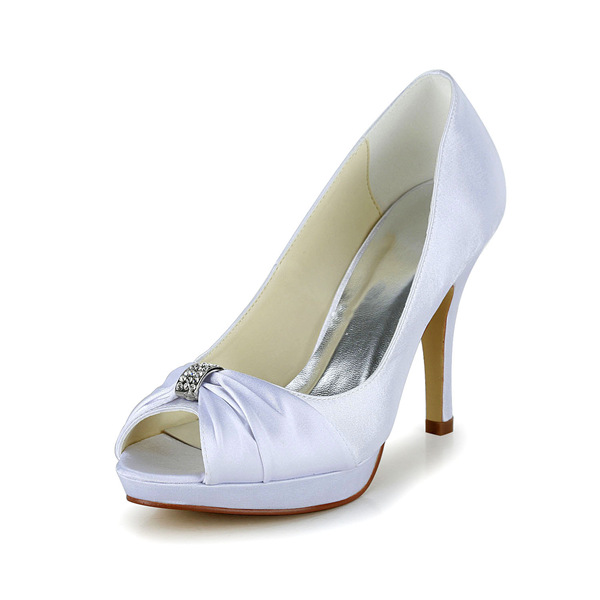 Simple White Bridal Shoes Ruffle Satin Stilettos Pumps With Metal Jewelry