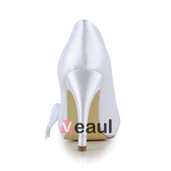 Simple White Bridal Shoes Satin Peep Toe Stilettos Pumps With Bow