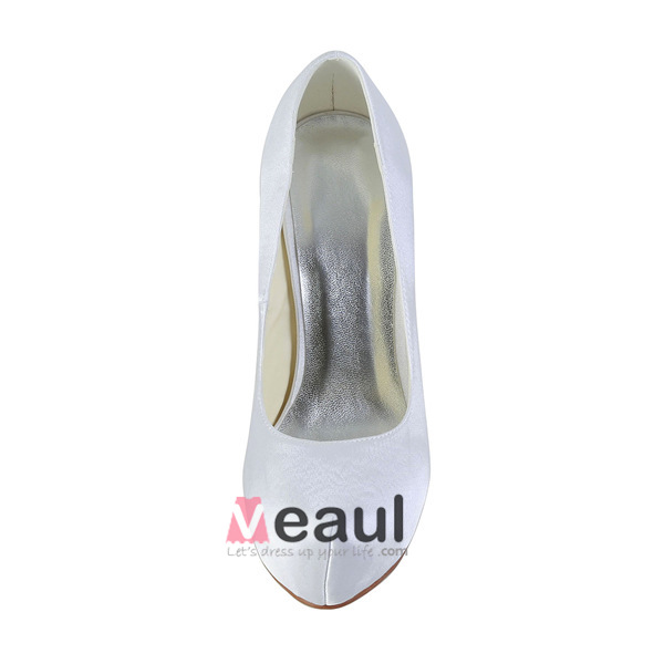 Simple White Bridal Shoes Satin Stilettos Platform Pumps