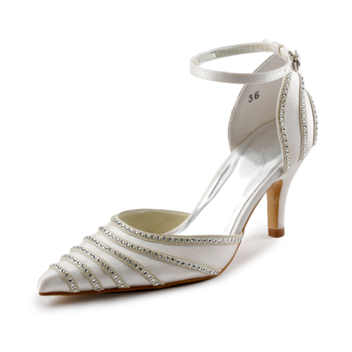 Sparkle Pointed Toe Mid Heels Ivory Satin Sandals Wedding Shoes With Rhinestone