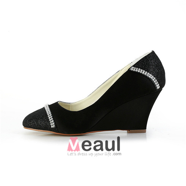 Sparkle Round Toe Mid Wedges Black Glitter Pumps Shoes With Rhinestone