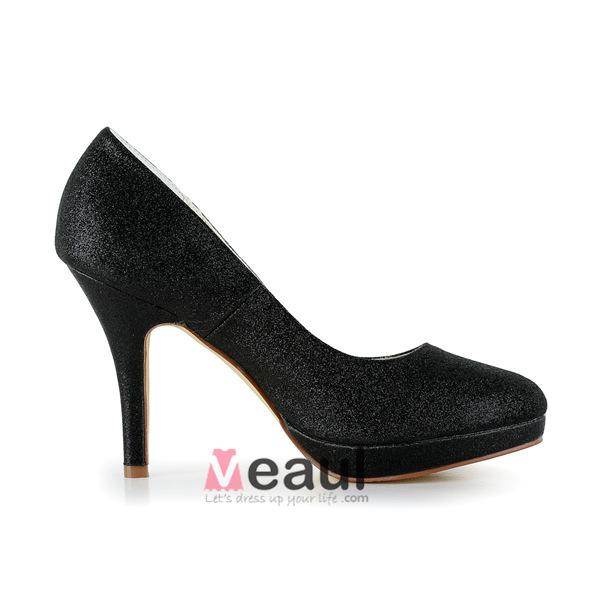 Sparkly Black Party Shoes Glitter Stilettos High Heels