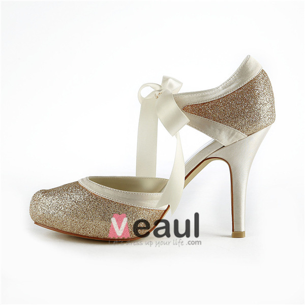 Sparkly Champagne Bridal Shoes Glitter Stilettos Sandals With Ribbon Tie
