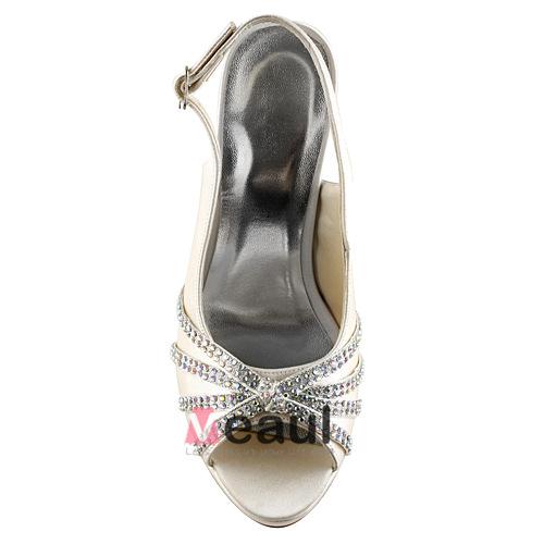 Sparkly Champagne Bridal Shoes Satin Peep Toe Stilettos Slingbacks With Rhinestone
