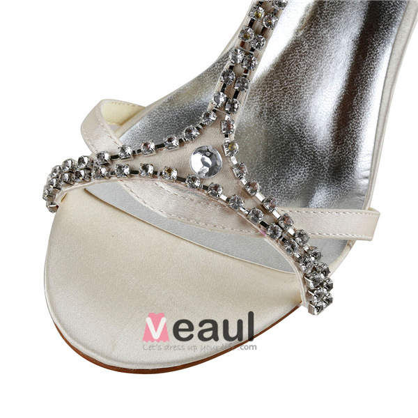 Sparkly High Heels Ivory Satin T-strap Wedding Shoes With Rhinestone