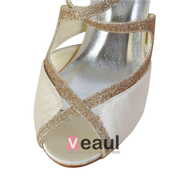 Sparkly Open Toe Strappy Sandals Champagne Glitter Bridal Wedding Shoes