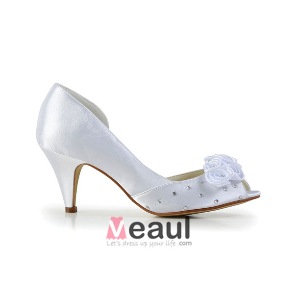 Sparkly Peep Toe Open Side Mid Heels Rhinestone White Satin Bridal Wedding Shoes Handmade Roses