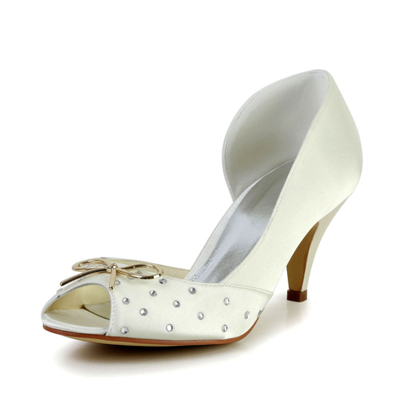 Sparkly Peep Toe Open Side Mid Heels Satin Bridal Wedding Shoes With Metal Bow-knot