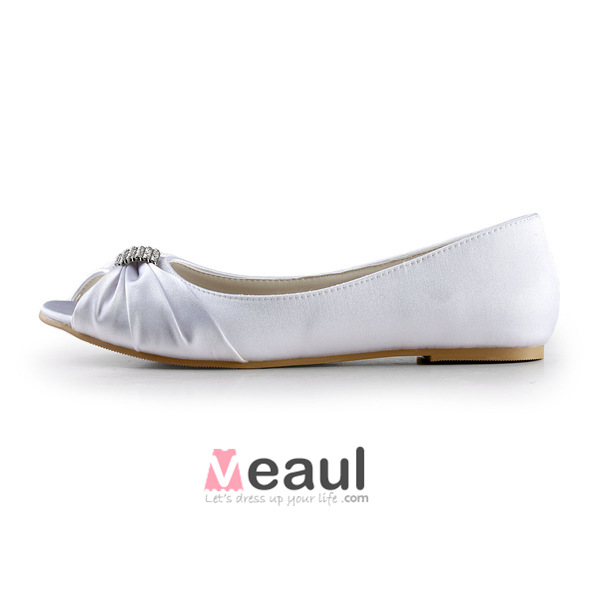 Sparkly Peep Toe White Ruffle Satin Flat Bridal Wedding Shoes