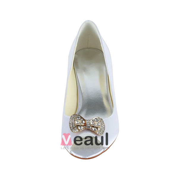 Sparkly Peep Toe White Satin Kitten Heels Pumps Wedding Shoes With Rhinestone Bow