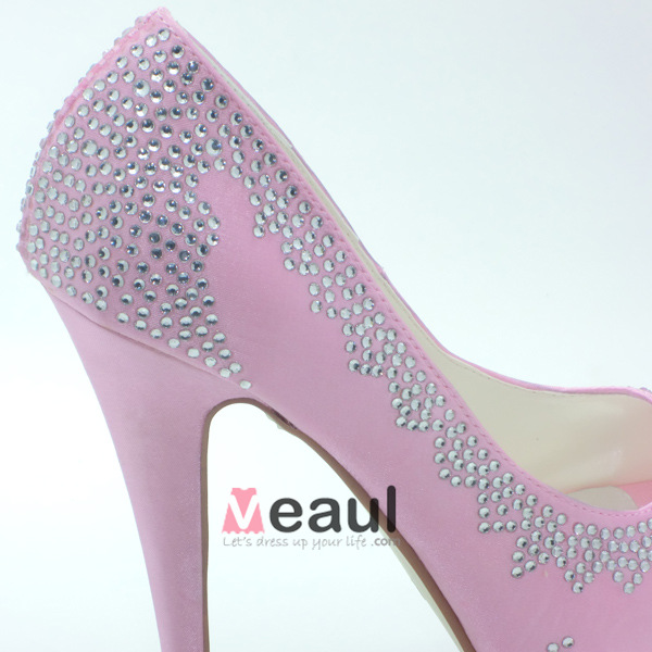 sparkly pink bridal shoes satin stilettos pumps with