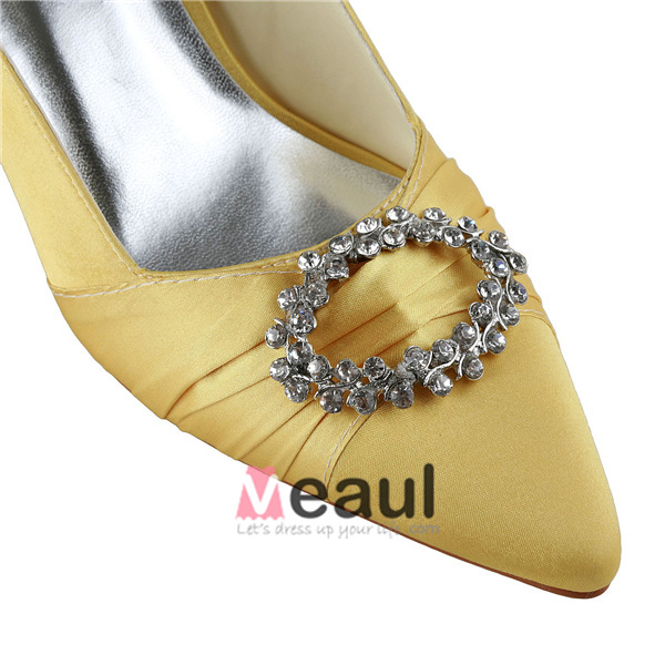Sparkly Pointed Toe Rhinestones Straps Gold Satin Low Heels Sandals Wedding Shoes