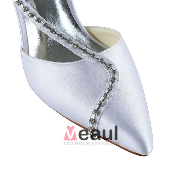 Sparkly Pointed Toe Rhinestones White Satin Low Heels Wedding Shoes