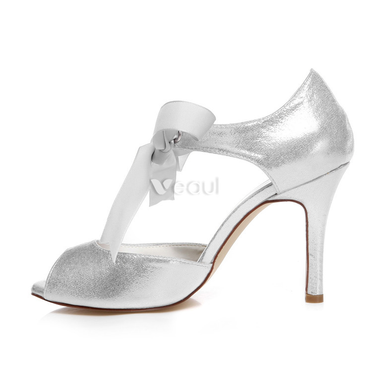 Sparkly Wedding Sandals With Ankle Strap 9 Cm Stiletto Heels Silver Bridal Shoes Peep Toe