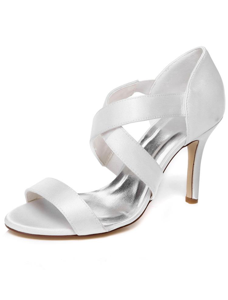Strappy Wedding Sandals High Heel 9 Cm Stiletto Heels White Bridal Shoes