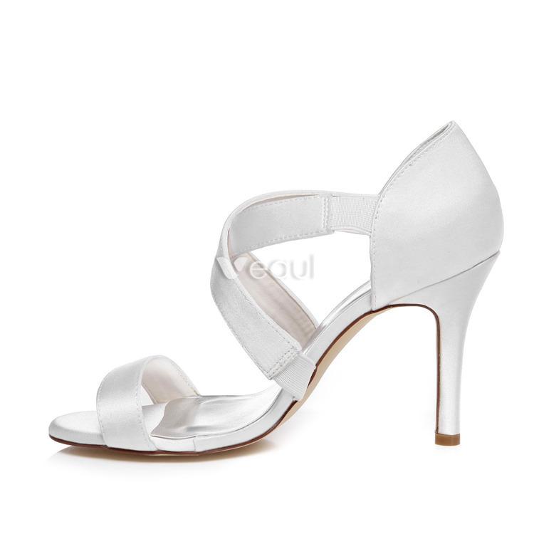 Strappy Wedding Sandals High Heel 9 Cm Stiletto Heels White Bridal Shoes 411603042