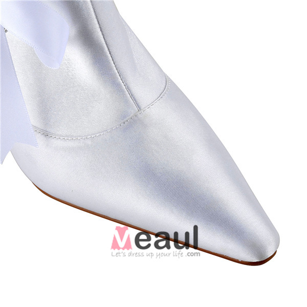 Unique White Bridal Shoes Stiletto Heel Satin Boot With Ribbon Bow