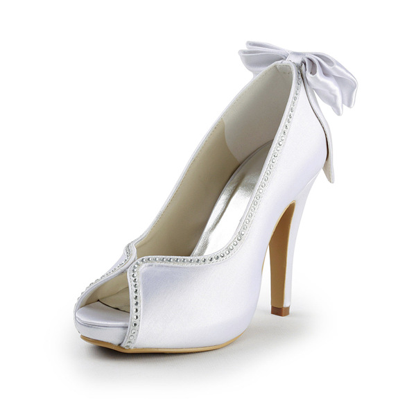 Unique White Wedding Shoes Peep Toe Satin Pumps With Bow Rhinestone
