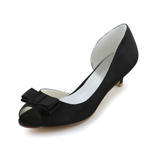 Vintage Peep Toe Black Satin Kitten Heels Open Side Wedding Shoes With Bow