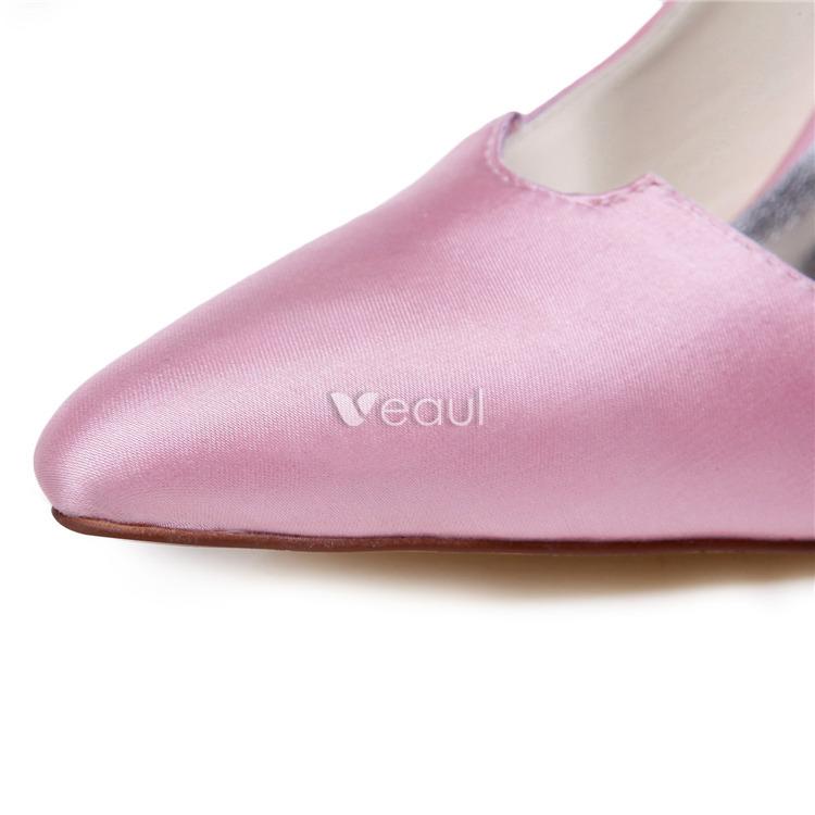 Vintage Pink Wedding Shoes Stiletto Heels Pumps Satin Bridal Shoes